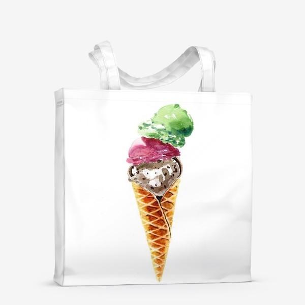 Сумка-шоппер «Три шарика мороженого в вафельном рожке»