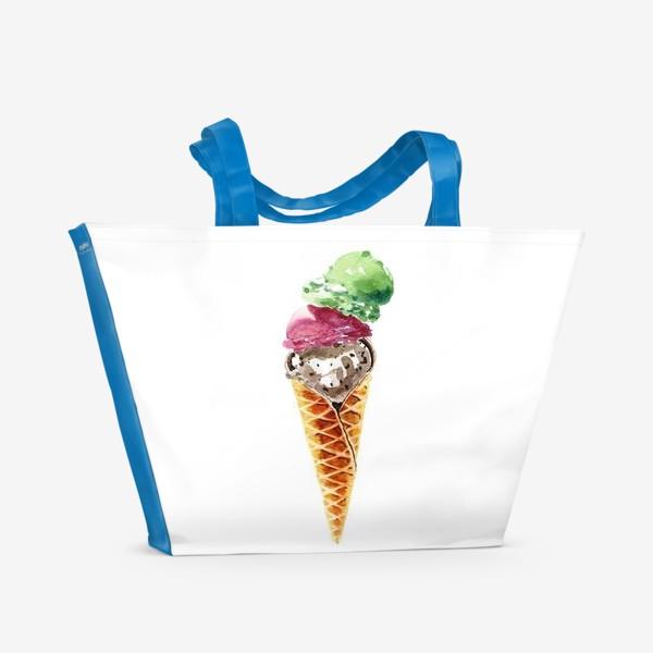 Пляжная сумка «Три шарика мороженого в вафельном рожке»