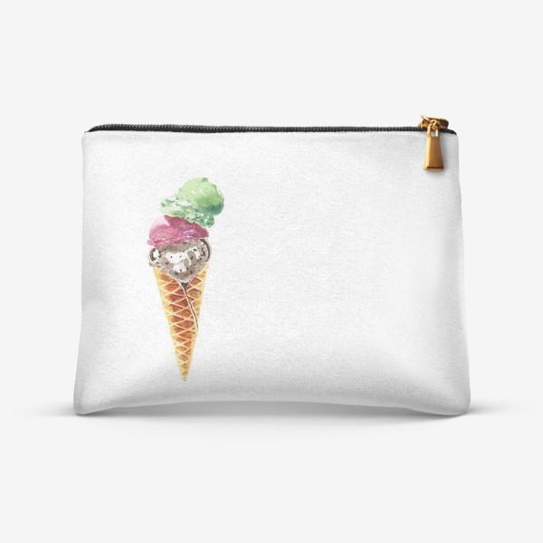 Косметичка «Три шарика мороженого в вафельном рожке»