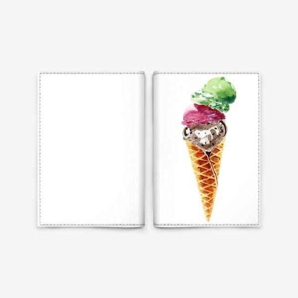 Обложка для паспорта «Три шарика мороженого в вафельном рожке»