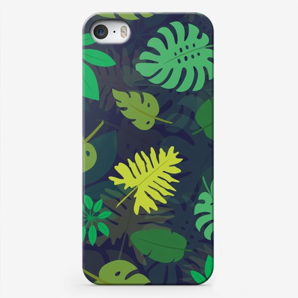 Чехол iPhone «Паттерн с тропическими листьями №1»