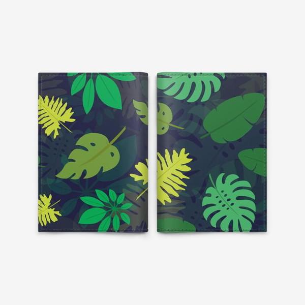 Обложка для паспорта «Паттерн с тропическими листьями №1»