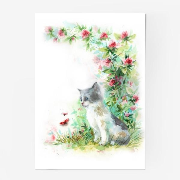 Постер «Котёнок и божья коровка»