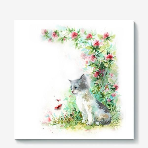 Холст «Котёнок и божья коровка»