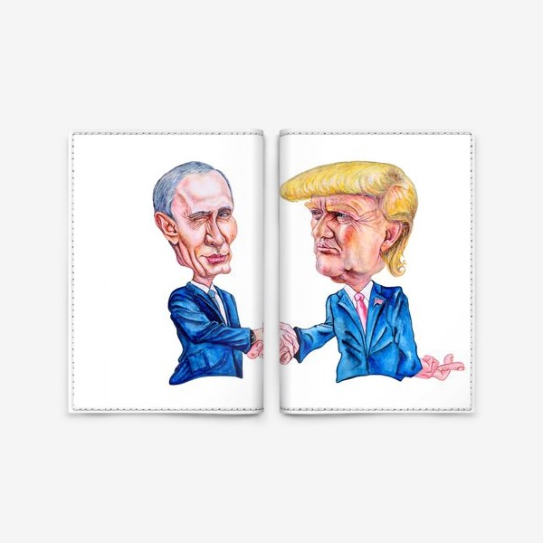 Обложка для паспорта «Шарж - портрет Путин и Трамп (рукопожатие)»