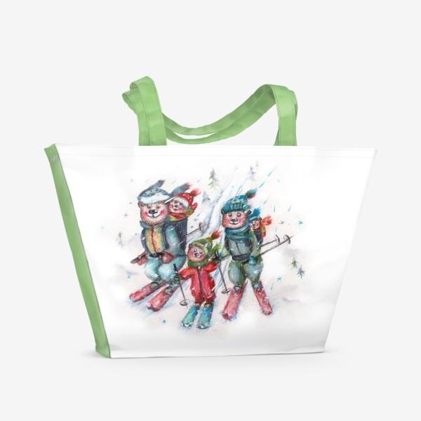 Пляжная сумка «Мишки на лыжах»