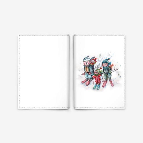 Обложка для паспорта «Мишки на лыжах»