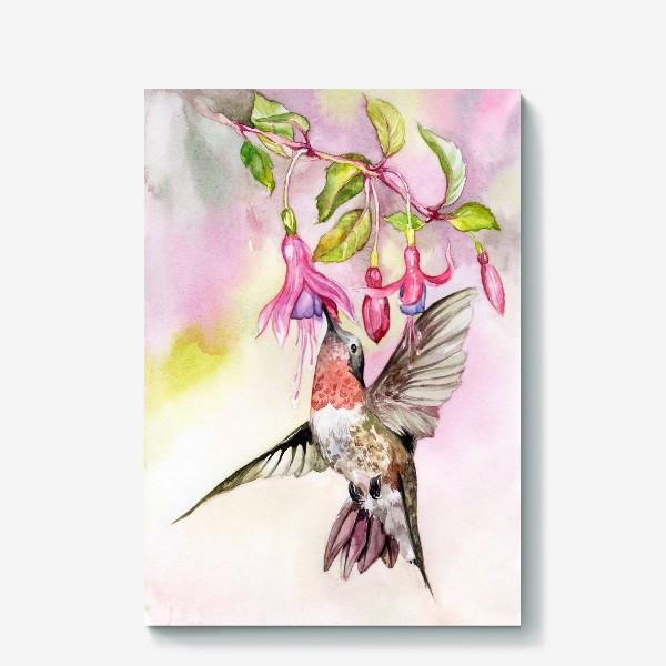 Холст «Птица колибри и фуксия\Birds hummingbird»