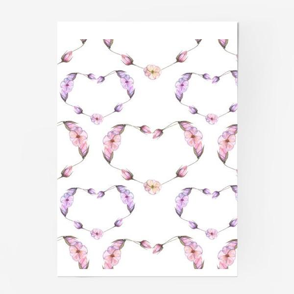 Постер «Watercolor floral hearts»