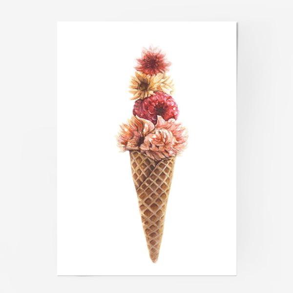 Постер «Вафельный рожок с цветами»