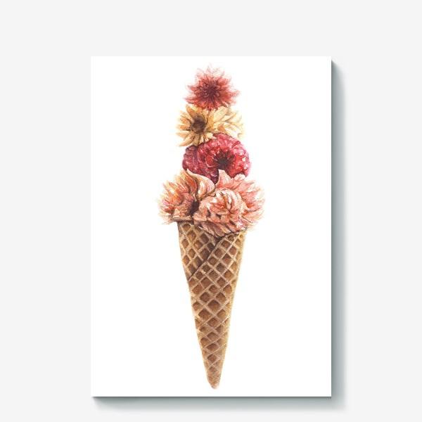 Холст «Вафельный рожок с цветами»