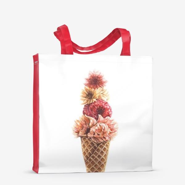 Сумка-шоппер «Вафельный рожок с цветами»