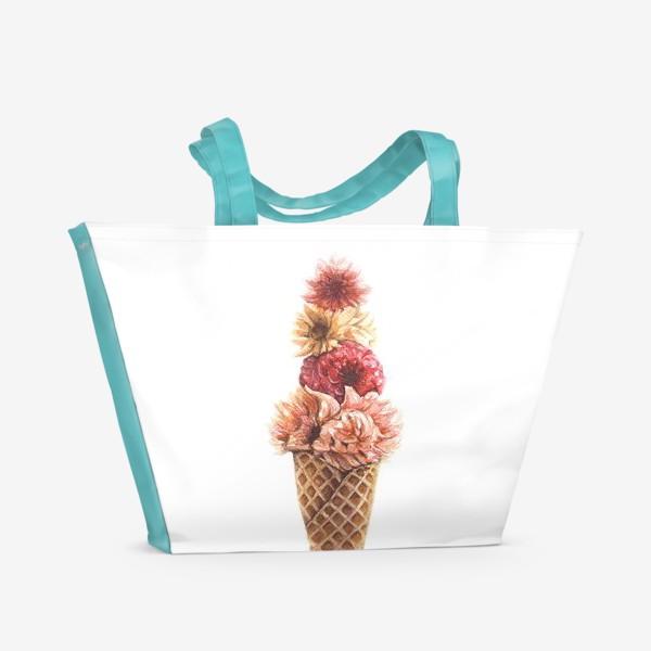 Пляжная сумка «Вафельный рожок с цветами»