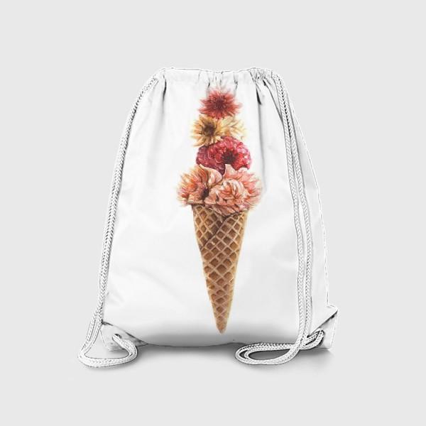 Рюкзак «Вафельный рожок с цветами»