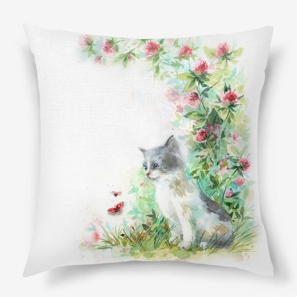 Подушка «Котёнок и божья коровка»