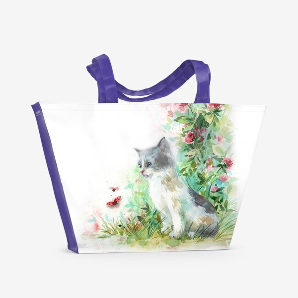 Пляжная сумка «Котёнок и божья коровка»