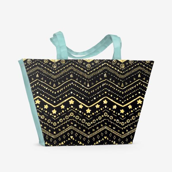 Пляжная сумка «Золотые узоры на черном»