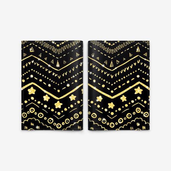 Обложка для паспорта «Золотые узоры на черном»