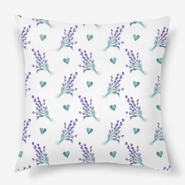 Подушка «Лаванда и сердечки»