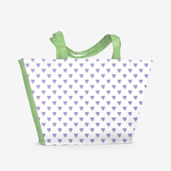Пляжная сумка «Лавандовые сердечки акварель»