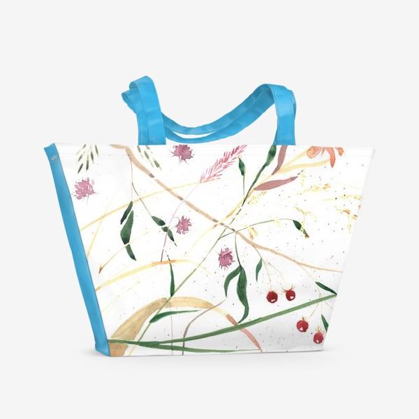 Пляжная сумка «Абстрактный цветочный орнамент»