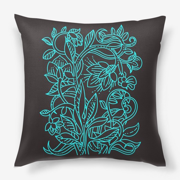 Подушка «Бирюзовая ботаника»