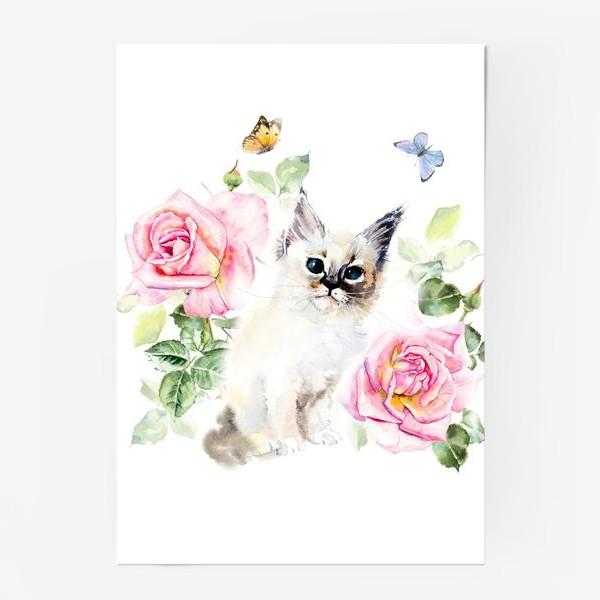 Постер «Котенок с розами и бабочками»