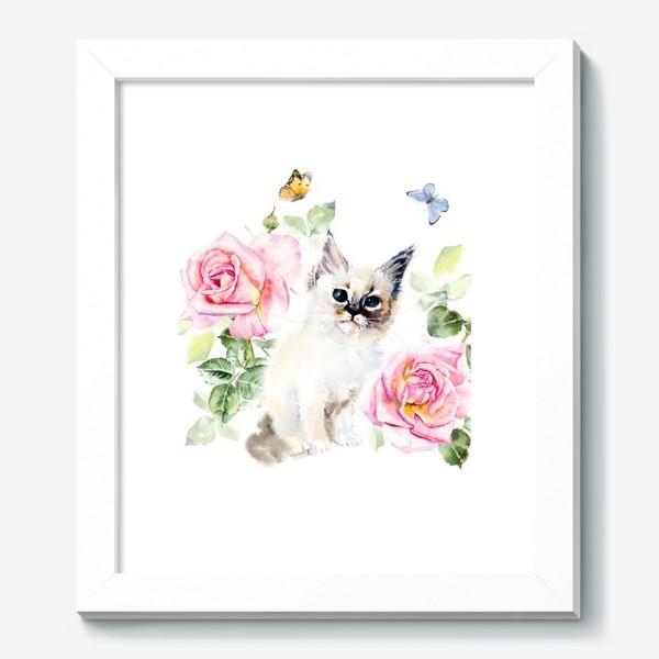 Картина «Котенок с розами и бабочками»