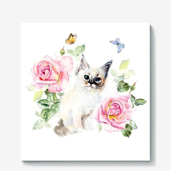 Холст «Котенок с розами и бабочками»