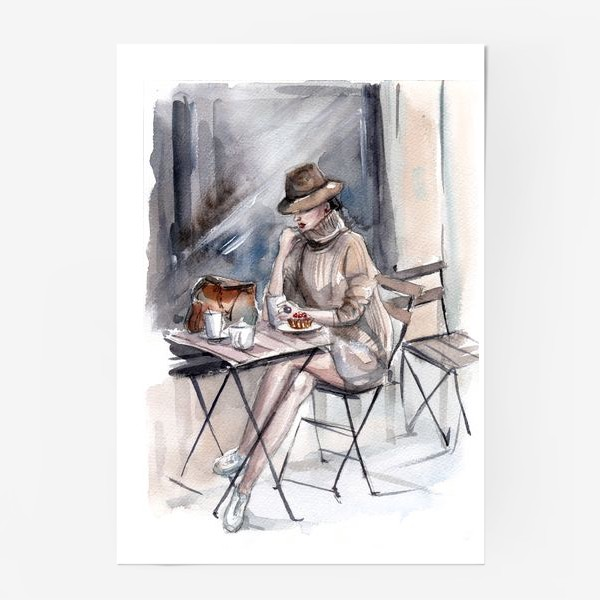 Постер «Девушка в уличном кафе»