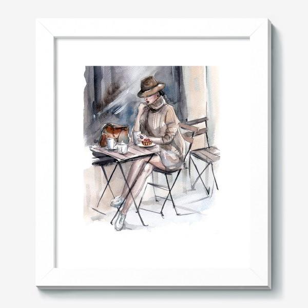 Картина «Девушка в уличном кафе»
