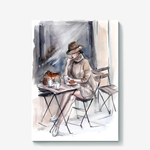 Холст «Девушка в уличном кафе»