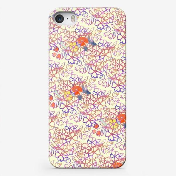 Чехол iPhone «Цветочный орнамент акварелью»