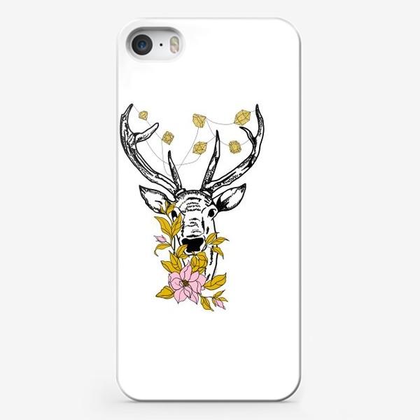 Чехол iPhone «Олень с кристаллами и цветами»