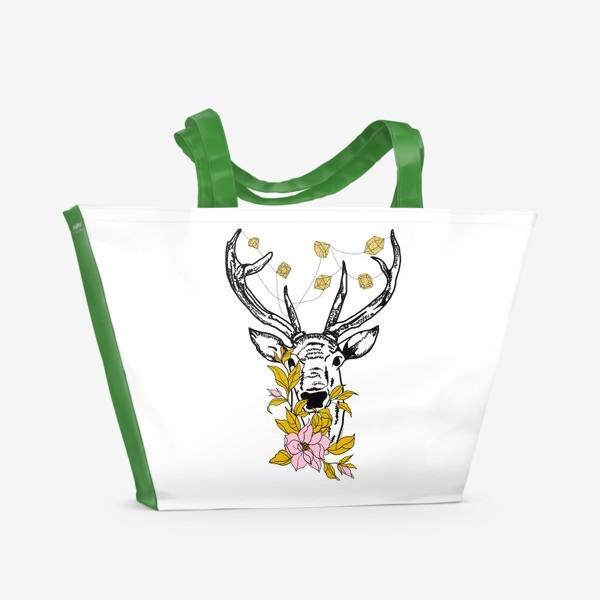 Пляжная сумка «Олень с кристаллами и цветами»