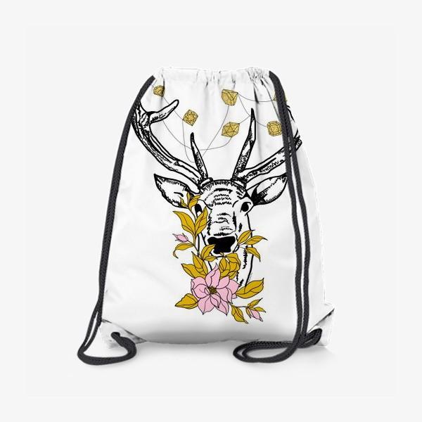 Рюкзак «Олень с кристаллами и цветами»