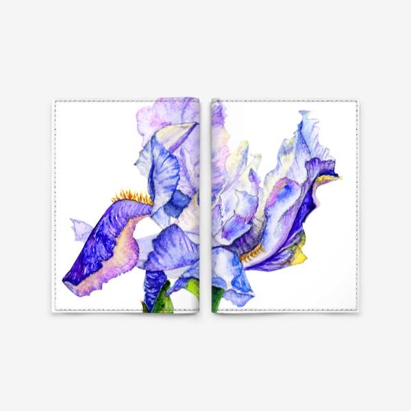 Обложка для паспорта «желтая бабочка на синем ирисе»