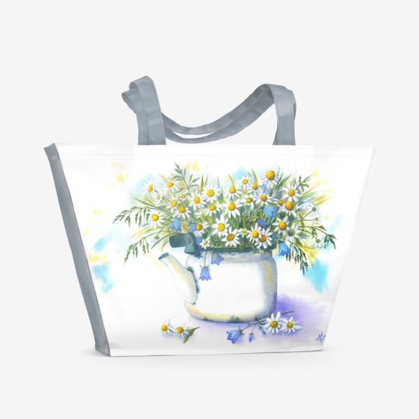 Пляжная сумка «Ромашки в чайнике»