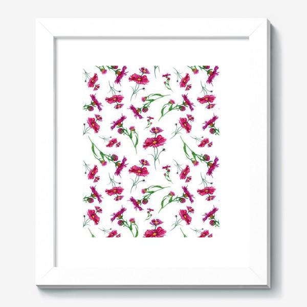 Картина « Полевые цветы красных оттенков»