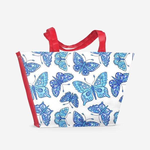 Пляжная сумка «Голубые бабочки»