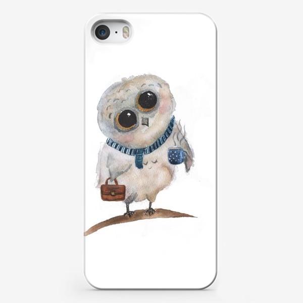 Чехол iPhone «Сова с кофе. »