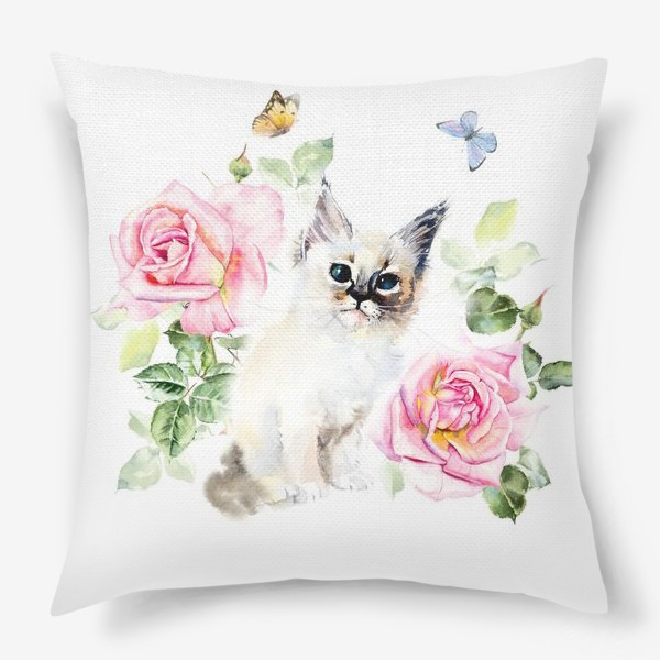 Подушка «Котенок с розами и бабочками»