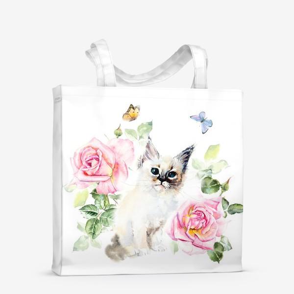 Сумка-шоппер «Котенок с розами и бабочками»