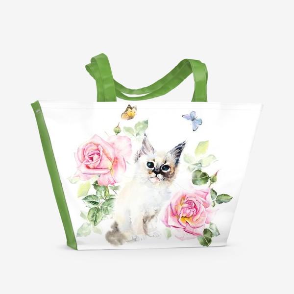 Пляжная сумка «Котенок с розами и бабочками»