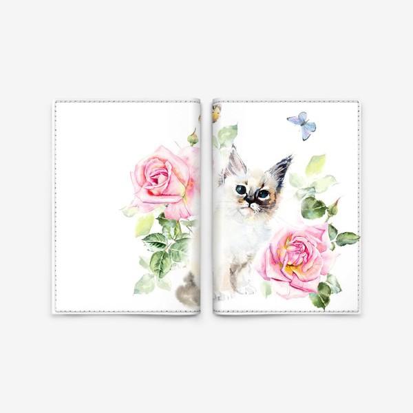 Обложка для паспорта «Котенок с розами и бабочками»