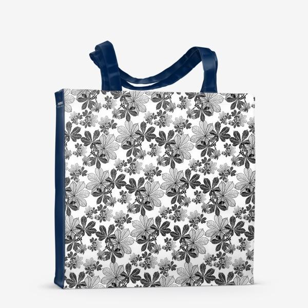 Сумка-шоппер «Черно-белые листья каштана»