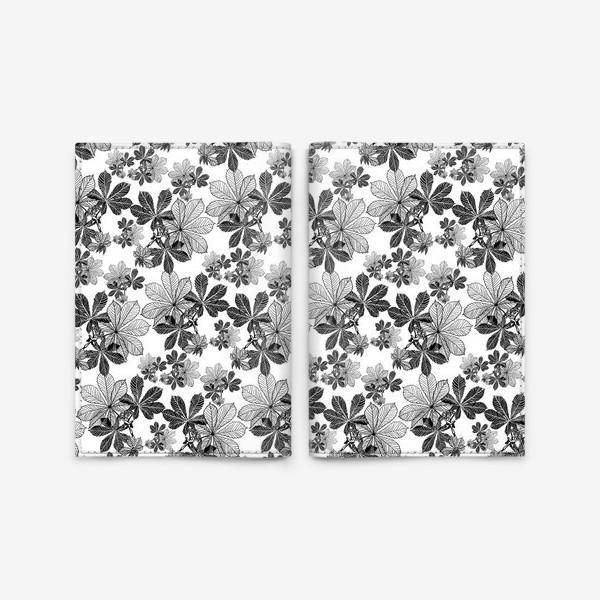 Обложка для паспорта «Черно-белые листья каштана»