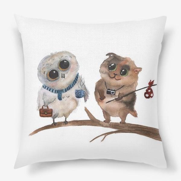 Подушка «Сова и кот»