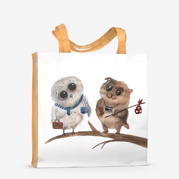 Сумка-шоппер «Сова и кот»