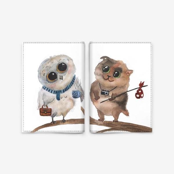 Обложка для паспорта «Сова и кот»